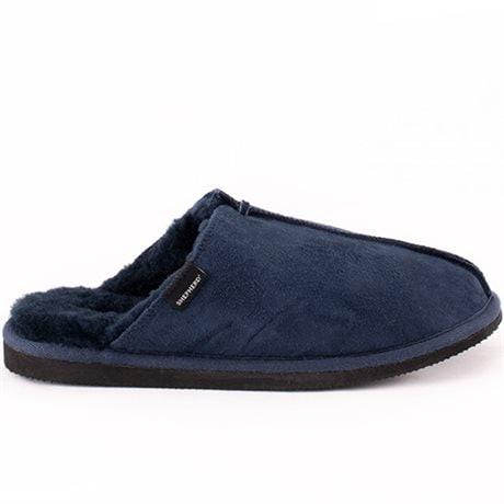 Shepherd Hugo Fårskinnstofflor Dark Navy