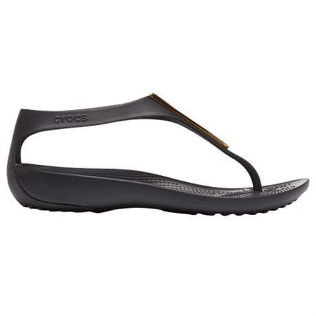 Crocs Serena Metallic Bar Flip Gold Black
