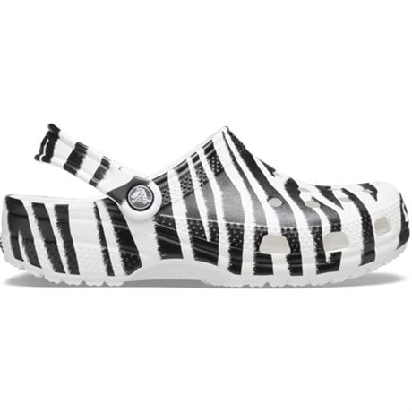 Crocs Classic Clog Animal Print White Zebra