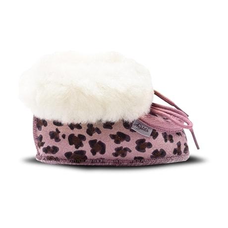 Axelda Fårskinnstofflor Baby Leopard Rosa