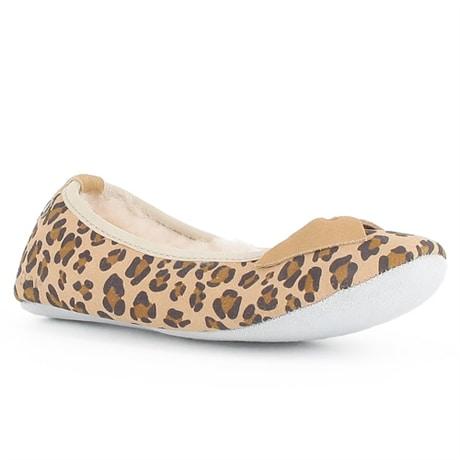 Axelda Fårskinnstofflor Bari Sand Leopard