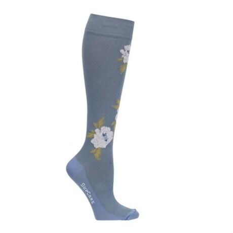 Stödstrumpor SupCare Flower Blue White