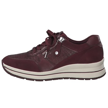 Tamaris Pure Relax Lady's Lace-up Sneakers Burgundy Croco